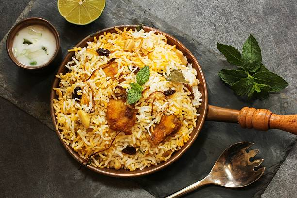Fish Biryani with basmati rice Indian food